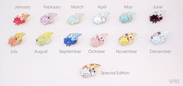 Glitter Birth Stone Kitten Star Pin (December)