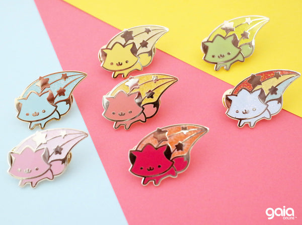 Glitter Birth Stone Kitten Star Pin (August)