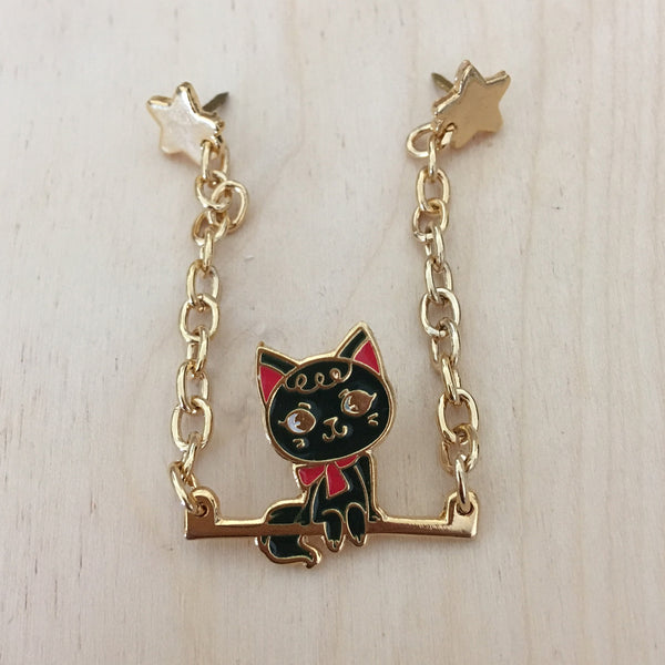 Circus: Cat on a Swing Chain Enamel Pin