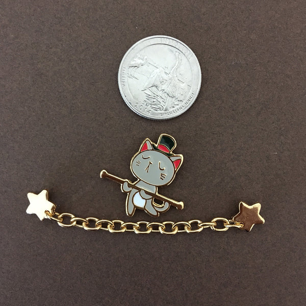 Circus: Cat tightrope walker Chain Enamel Pin