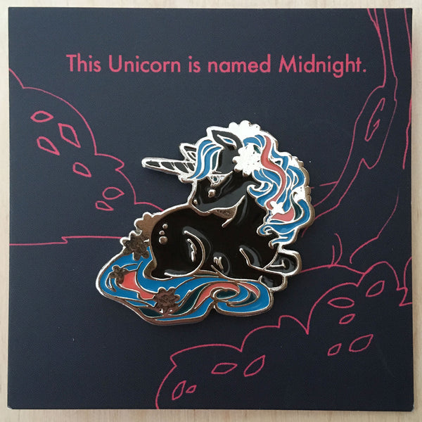 Forest Spirit: Unicorn (Midnight) Enamel Pin