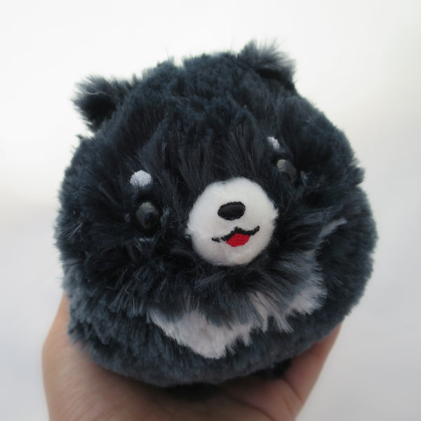 Pomeranian Plush - Black (Extra Happy)