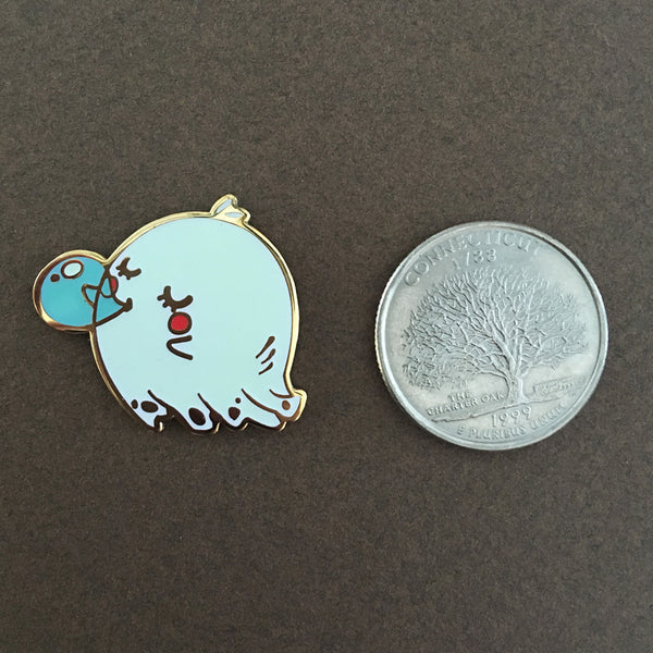 Ghost blowing a Blue bubblegum (Glow in the Dark) pin