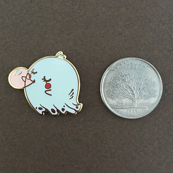 Ghost blowing a Pink bubblegum (Glow in the Dark) pin