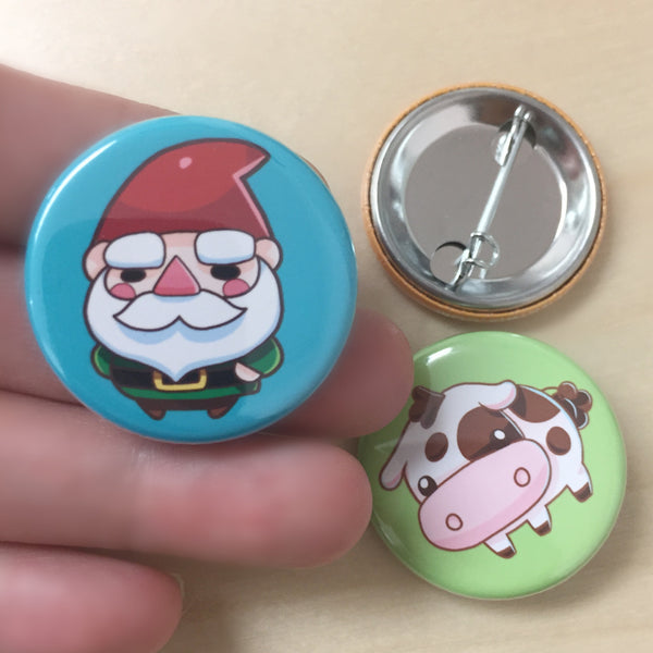 zOMG Button Set E: Lawn Gnome/ Cow / Land Shark