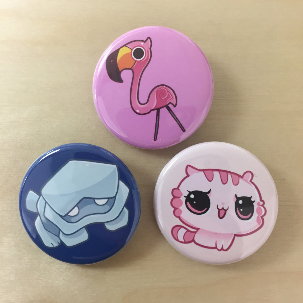 zOMG Button Set B: Rock Puppy/ Flamingo/ Ultra Satan