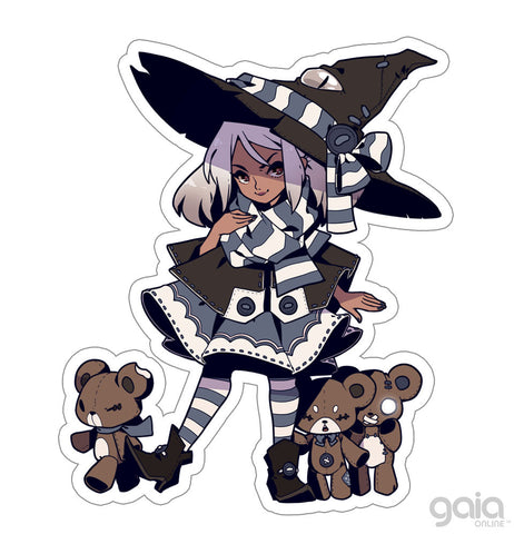 Teddy Bear Witch Vinyl Stickers