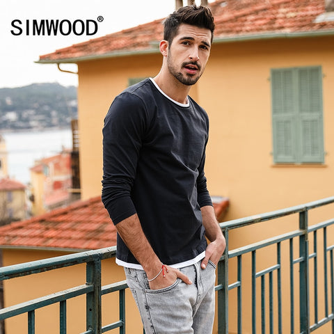 SIMWOOD 2019 Spring New Fake Double Layered T-Shirt Men Long Sleeve 100% Cotton Fashion Tops High Quality Slim Fit Tees 180109 - Lord's Outdoors