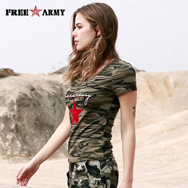 FREEARMY Black T-Shirt Fashion Military Green Camo Cotton T-Shirts For Women Print Short Sleeved Knitting tshirt Top Tees Lady - Lord's Outdoors
