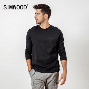 SIMWOOD Casual Long Sleeve T-Shirt Men Letter Embroided t shirt 100% Cotton Fashion Streetwear Spring Tops Tees Male 190113 - Lord's Outdoors