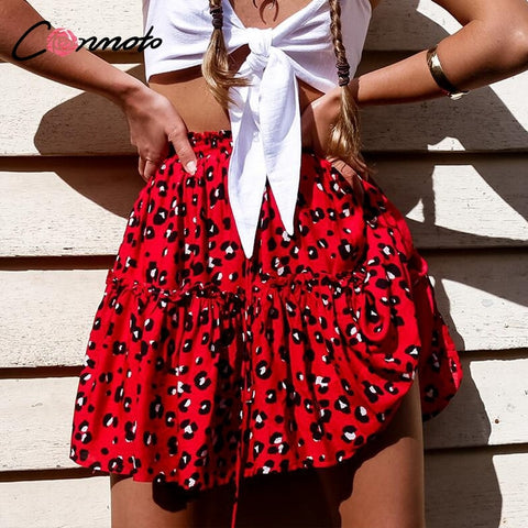 Conmoto Colorful Leopard Print Ruffles Short Black Skirt Lace Up Women Skirts Summer 2019 High Waist Red Mujer Skirt - Lord's Outdoors