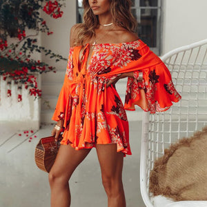 Lily Rosie Girl Off Shoulder Yellow Sexy Playsuits Women Big Flare Sleeve red Jumpsuits Summer Beach Party Casual Lace Up Romper - Lord's Outdoors
