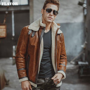 Men's real leather jacket motorcycle pigskin Genuine Leather jackets with faux shearling liner winter warm coat men - Lord's Outdoors