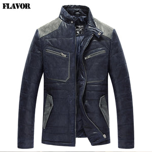 2016 Men's real leather jacket pigskin padding cotton warm Genuine Leather jacket men slim leather coat - Lord's Outdoors