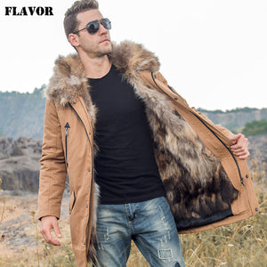 FLAVOR Men's Down Jacket Men Real Fur Parka with Removable Raccoon Fur Liner Hood Winter Long Warm Down Coat - Lord's Outdoors
