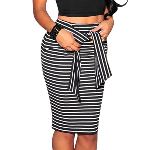 Women Black White Striped Skirt - Lord's Outdoors
