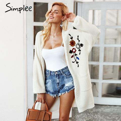 Simplee Embroidery flower knitted long cardigan female V neck casual pocket jumper 2018 Autumn winter women sweater cardigan - Lord's Outdoors