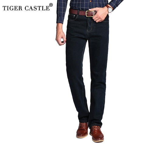 TIGER CASTLE High Waist 100% Cotton Mens Classic Jeans Baggy Brand Male Straight Denim Pants Spring Winter Thick Jeans Men - Lord's Outdoors