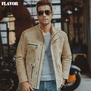 S-6XL Men's pigskin beige real leather jacket Motorcycle Genuine Leather jackets winter coat men - Lord's Outdoors