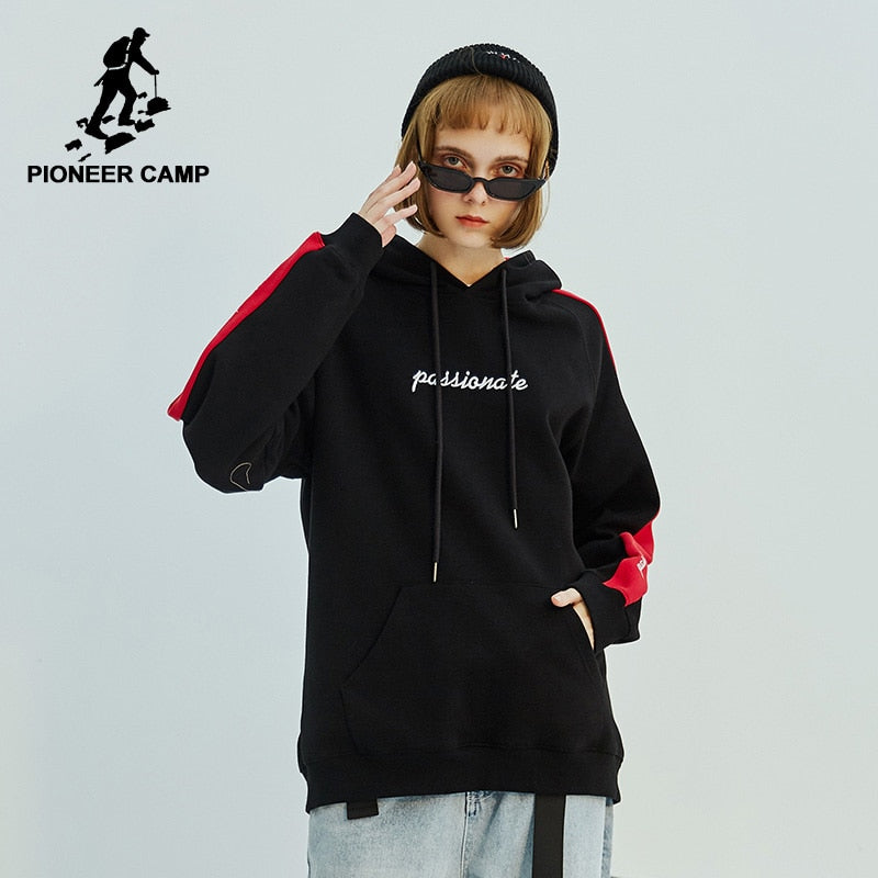 Pioneer camp new winter fleece hoodie sweatshirt women fashion loose patchwork hoodies for women hooded kpop clothes - Lord's Outdoors