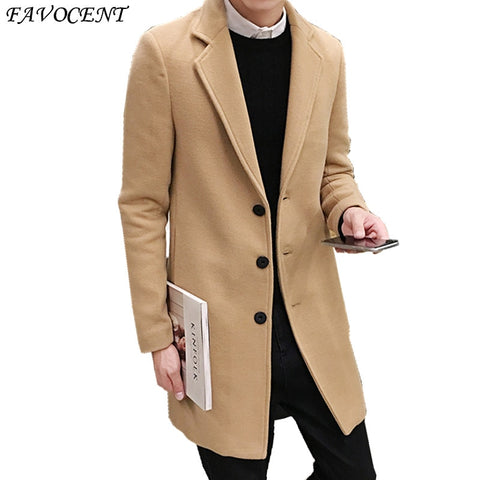 Sobretudo Fashion Standard Single Breasted Button Regular Special Offer Top Fashion Peacoat 2018 Free Shipping Woollen Overcoat - Lord's Outdoors