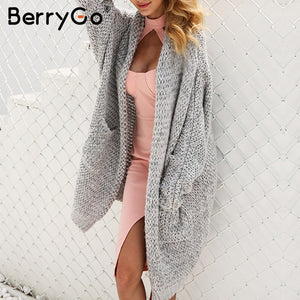 BerryGo Long cardigan female casual loose plus size cardigan 2018 knitted Women sweater ladies autumn winter sweater coat jumper - Lord's Outdoors