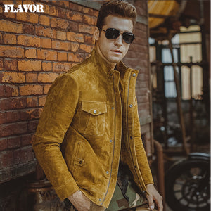 Men's pigskin yellow real leather jacket Genuine Leather jacket motorcycle coat denim jacket men - Lord's Outdoors