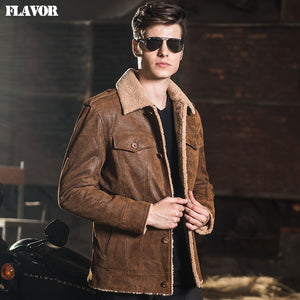 2016 Men's real leather jacket pigskin denim with Faux fur lining  jackets Genuine Leather jacket men leather coat - Lord's Outdoors