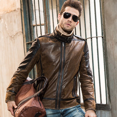 2016 Men's real leather jacket pigskin vintage Genuine Leather jacket men double face fur leather coat motorcycle jacket - Lord's Outdoors