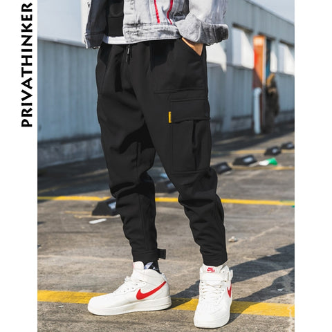 Privathinker Men Wool Black Joggers Pants Thick 2018 Mens Big Pockets Ankel Cargo Pants Male Fall Streetwear Overalls Sweatpants - Lord's Outdoors