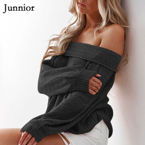 Plus Size S-5XL Women Long Sleeve Knitted Sweater Tops Casual Style Solid Color Women Warm Off The Shoulder Pullover Sweater - Lord's Outdoors