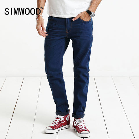 SIMWOOD 2019  New Spring Jeans Men 100% Pure Cotton White Dot Crafts  Denim Pants Fashion Brand Clothing Plus Size SJ6077 - Lord's Outdoors