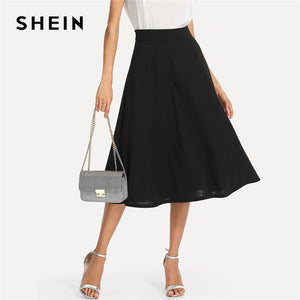SHEIN Black Elegant Slant Pocket Side Circle Mid Waist Long Skirt Summer Women Office Lady Workwear Solid Skirts - Lord's Outdoors