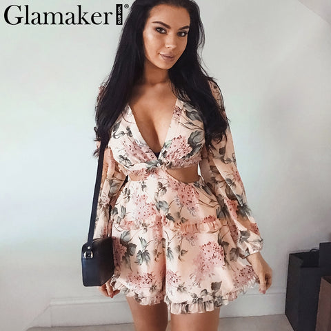 Glamaker Sexy floral print chiffon bandage Jumpsuit Romper women pink Short jumpsuit ruffle summer female playsuit overalls 2019 - Lord's Outdoors