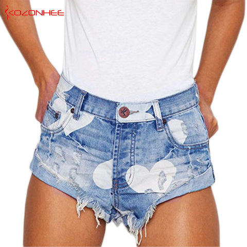 European Style Stars Print Women Shorts Fashion Frayed Tassel Denim Shorts Washed Sexy Low Waist Super Shorts Summer Jean Shorts - Lord's Outdoors