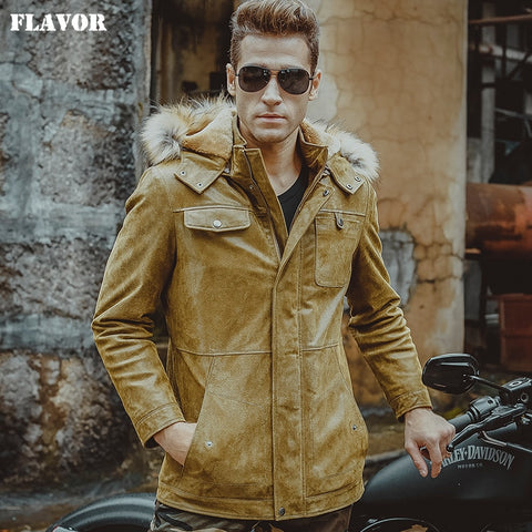 Men's real leather jacket pigskin yellow jackets hooded fur hat Genuine Leather jackets winter warm padding cotton coat men - Lord's Outdoors