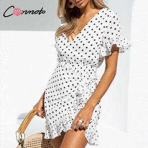 Conmoto 2019 Summer White V Neck Polka Dot Short Dress Women Casual Ruffle High Waist Lace up Dress Female Holiday Party Vestido - Lord's Outdoors