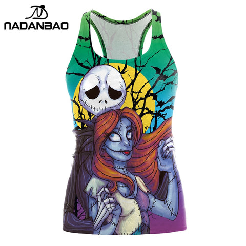 NADANBAO Brand The Nightmare Before Christmas Tank top Women Halloween Blusa Sexy Print  Women Jack Skellington Tops Cropped - Lord's Outdoors