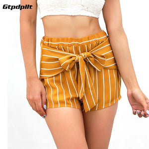 Gtpdpllt 2018 Summer Shorts Women High Waist Bow Shorts Women short femme Casual Yellow Striped Beach Womens Shorts feminino - Lord's Outdoors