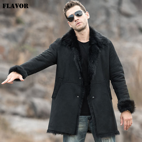 FLAVOR Men's Real Leather Jacket Genuine Shearling Trench Coat Winter Warm Long Coat Men - Lord's Outdoors