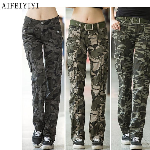 Women Workout Casual Military Camouflage Cargo Jeans Pants Denim Overalls Ladies Straight Multi-pocket Trousers Pantalon Femme - Lord's Outdoors