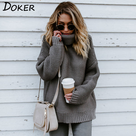 Autumn Long Sleeve Sweater And Pullover Women Casual Looseturtleneck Knitwear Warm Sweater Winter Cable Knitted Plus Size Tops - Lord's Outdoors