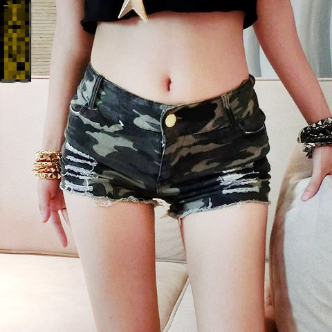 Sexy Nightclub Pole Dance High Waist Micro Mini Shorts Camouflage Denim Thong Hotpants Summer Hotpants Booty Dance Shorts Femme - Lord's Outdoors
