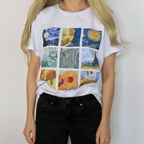 Hillbilly Women's Fashion Plus Size Tees & Tops Short Sleeve Modal Casual Female T-shirts White Van Gogh Painting T Shirts Gift - Lord's Outdoors
