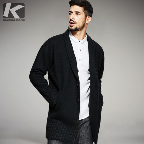 KUEGOU New Autumn Mens Hooded Wool Coats And Jackets Button Black Color Brand Clothing For Man's Wear Slim Long Overcoat 8115 - Lord's Outdoors