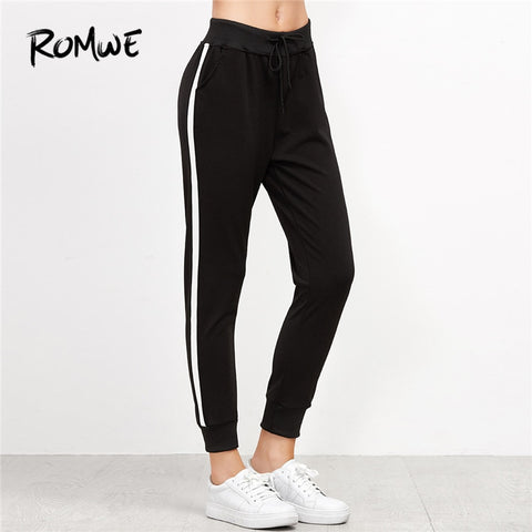 ROMWE Black Striped Side Drawstring Pants Female Casual Autumn Drawstring Waist Sporty Sweatpants Tapered Carrot Crop Trousers - Lord's Outdoors