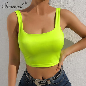 Simenual Square collar strap tank top neon green sexy sleeveless crop tops women streetwear korean vest summer fashion slim tee - Lord's Outdoors