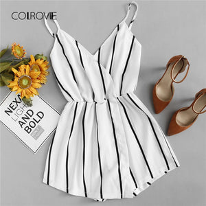 COLROVIE Wrap Casual Vertical Striped Romper Summer V Neck Playsuit Mid Waist Women Rompers Strap Beach Short Jumpsuit - Lord's Outdoors
