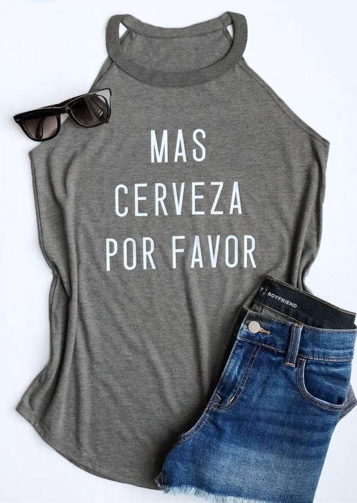 Fashion Tank Top Women Summer Sleeveless Vest Mas Cerveza Por Favor Letter Print Grey Tank O-Neck Female Casual Ladies Tops Tee - Lord's Outdoors
