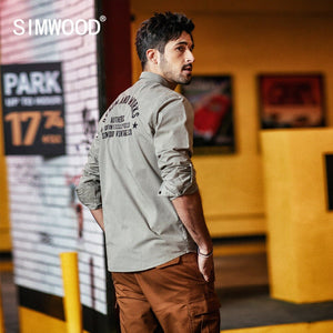 SIMWOOD 2019 Spring Casual Shirts Men Letter Embroidered Fashion Slim 100% Cotton Shirt Male Brand Clothing chemise homme 190122 - Lord's Outdoors